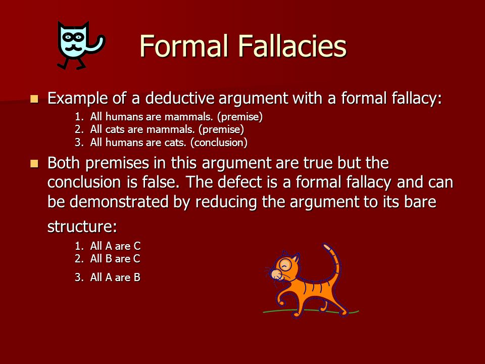 list of fallacies in argument essay Fallacies are not always deliberate, but a good scholar's purpose is always to identify and unmask fallacies in arguments note that many of these definitions overlap, but the goal here is to identify contemporary and classic fallacies as they are used in today's discourse.