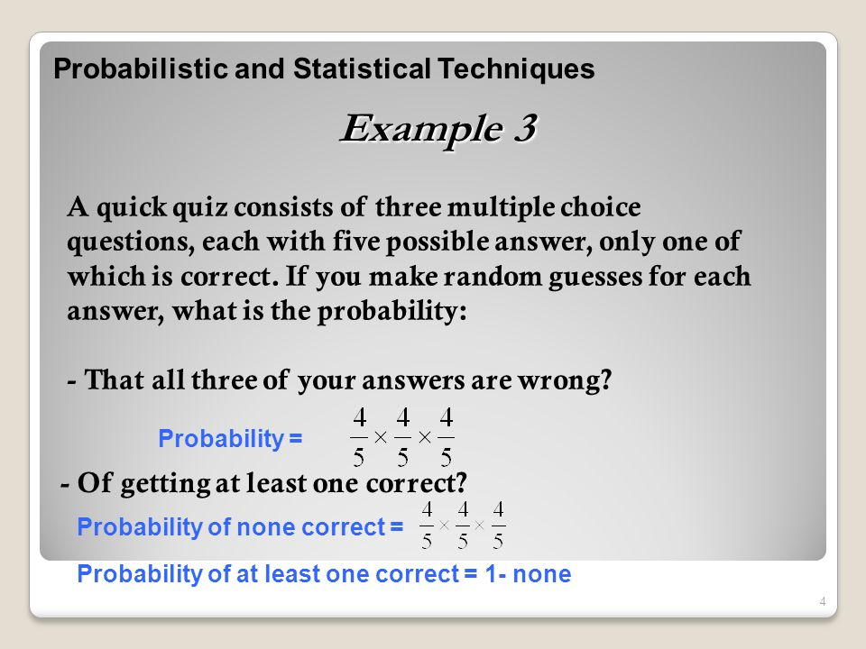 Probabilistic and Statistical Techniques 1 Revision Eng