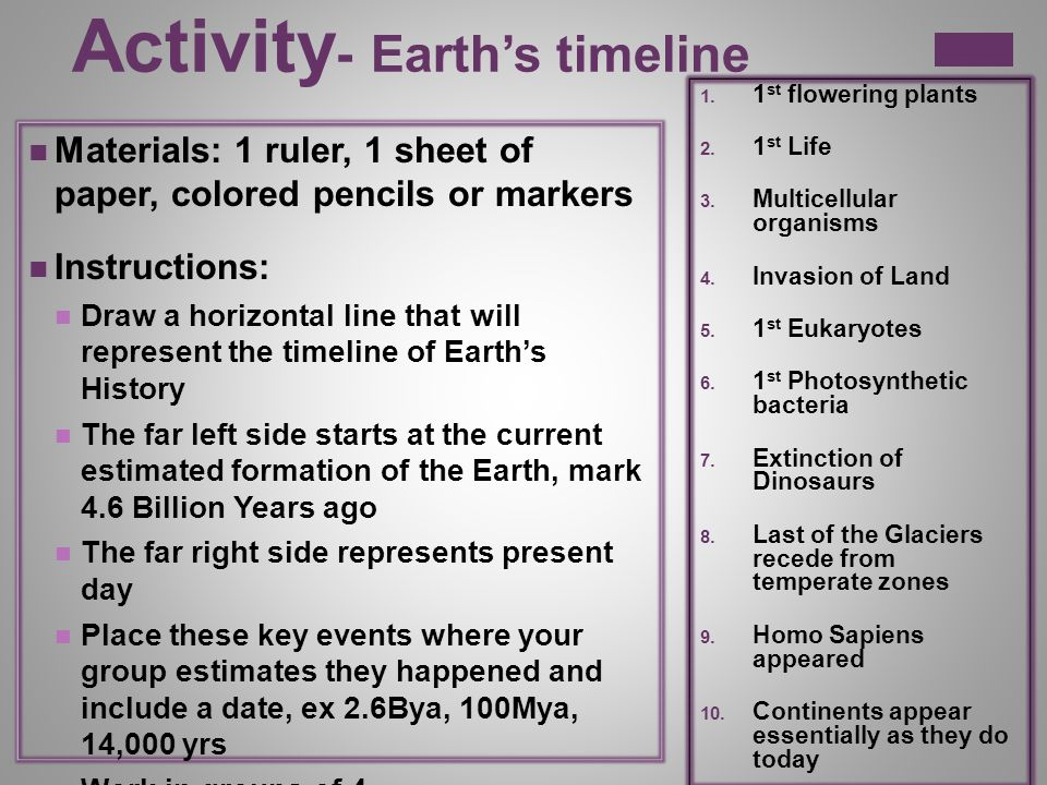 Chapter 14 Section 2 Activity Earth S Timeline Materials