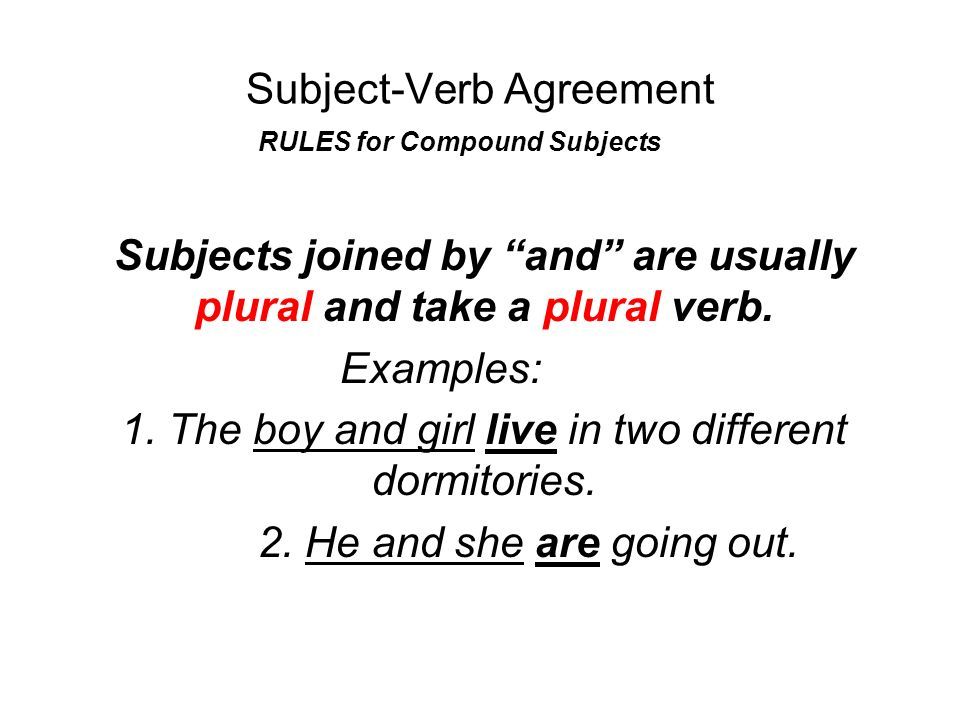 Subject Verb Agreement Agreement In Number Subjects And Their Verbs