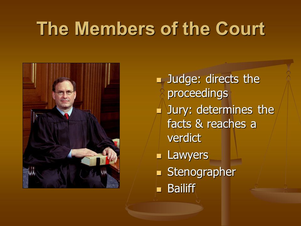 The Members of the Court Judge: directs the proceedings Jury: determines the facts & reaches a verdict Lawyers Stenographer Bailiff