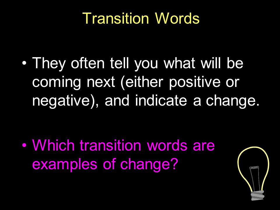 positive transition words