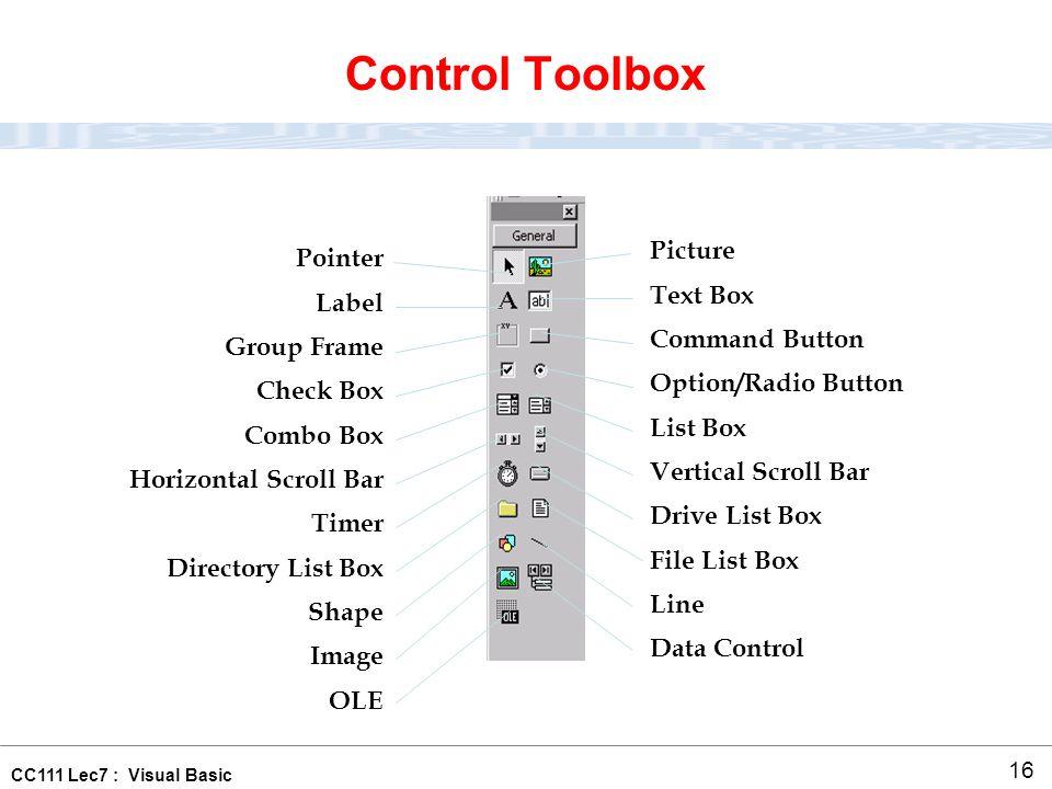 CC111 Lec7 : Visual Basic 1 Visual Basic(1) Lecture ppt download