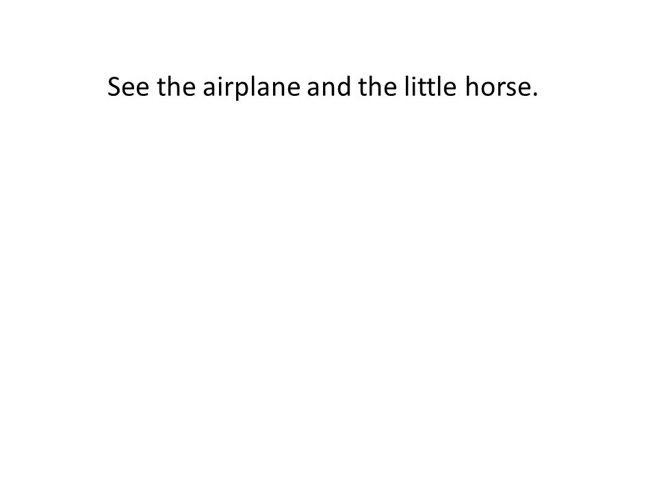 See the airplane and the little horse.