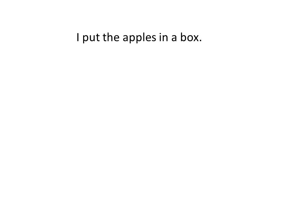 I put the apples in a box.
