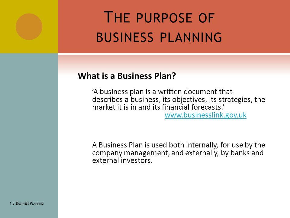 purpose of business planning