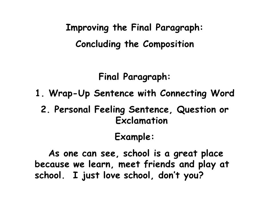 how to write a wrap up sentence