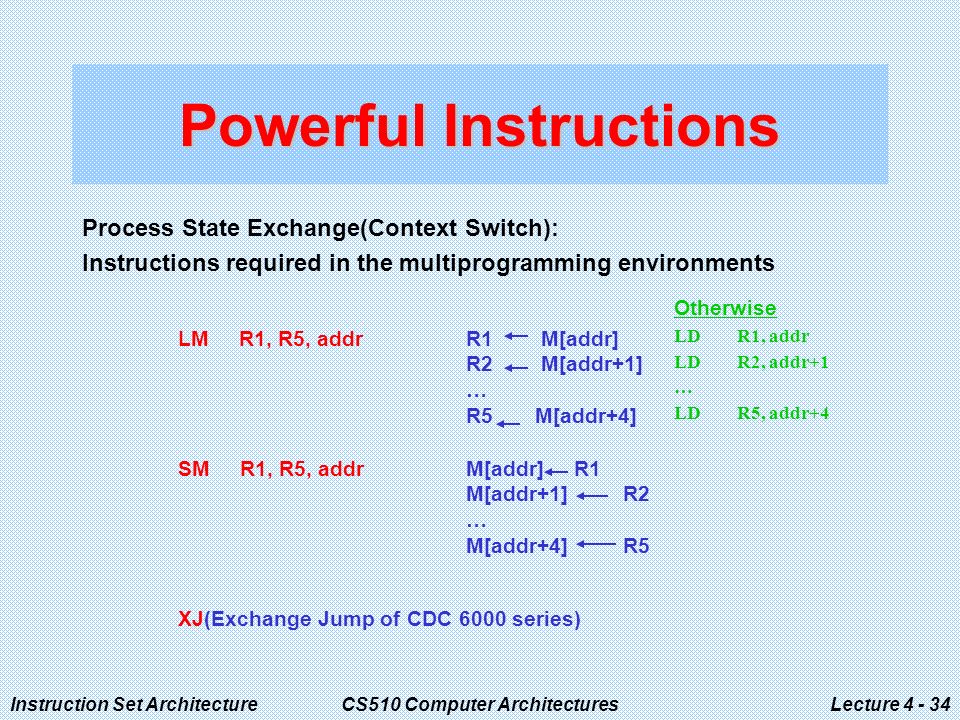 Instruction Set ArchitectureCS510 Computer ArchitecturesLecture Powerful Instructions Process State Exchange(Context Switch): Instructions required in the multiprogramming environments Otherwise LD R1, addr LD R2, addr+1 … LD R5, addr+4 LM R1, R5, addrR1 M[addr] R2 M[addr+1] … R5 M[addr+4] SM R1, R5, addrM[addr] R1 M[addr+1] R2 … M[addr+4] R5 XJ(Exchange Jump of CDC 6000 series)