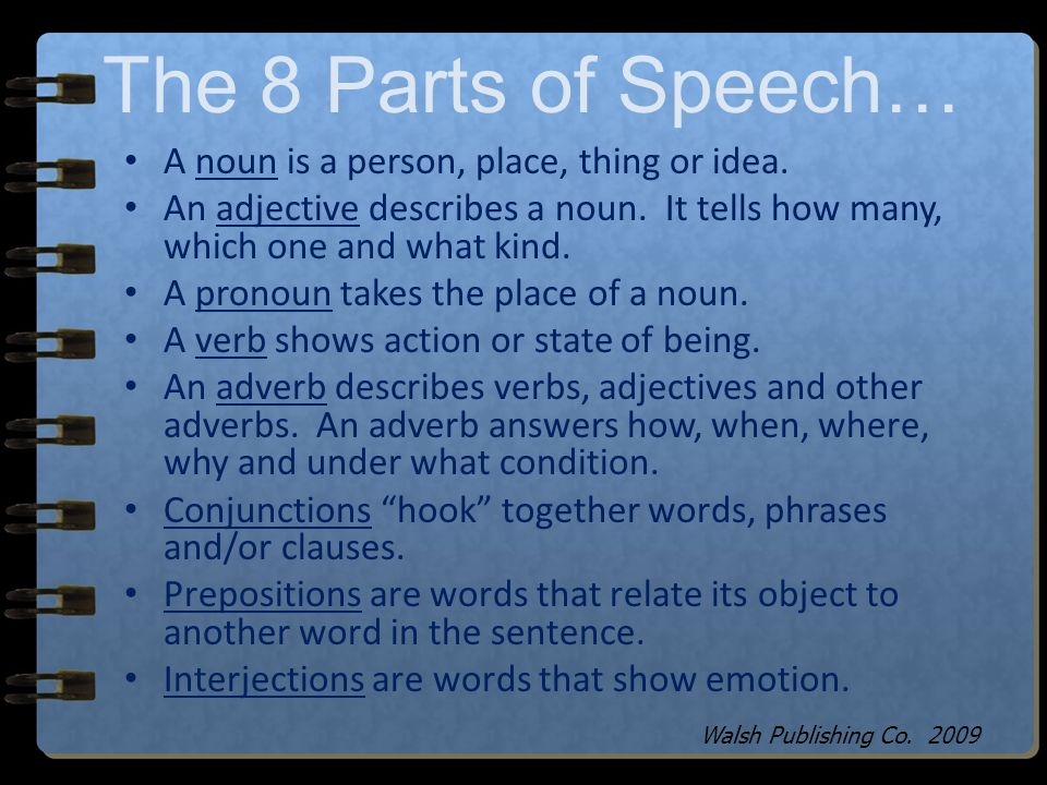 The 8 Parts of Speech… Nouns Adjectives Pronouns Verbs Adverbs Conjunctions Prepositions Interjections Walsh Publishing Co.