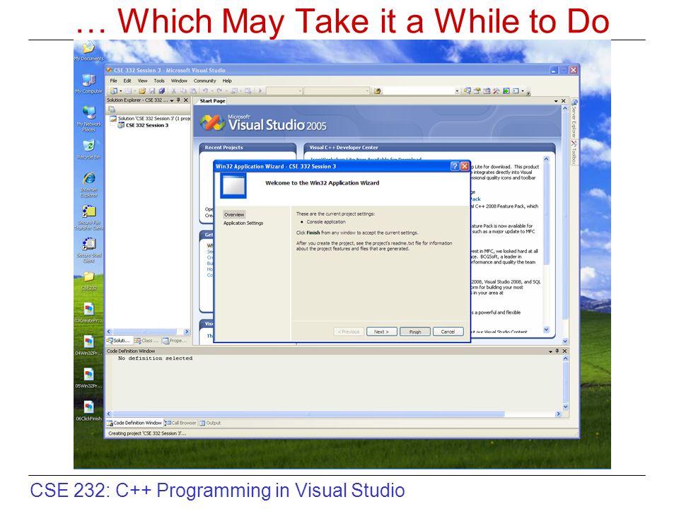 CSE 232: C++ Programming in Visual Studio Graphical