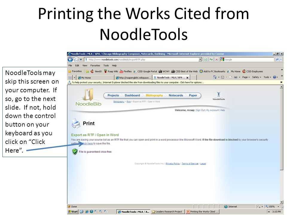Printing The Works Cited From NoodleTools Bibliography Page