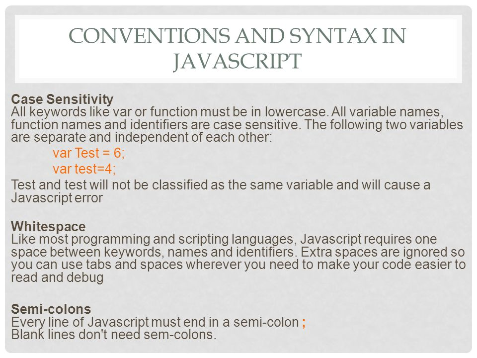 USING UNITY JAVASCRIPT  CONVENTIONS AND SYNTAX IN JAVASCRIPT
