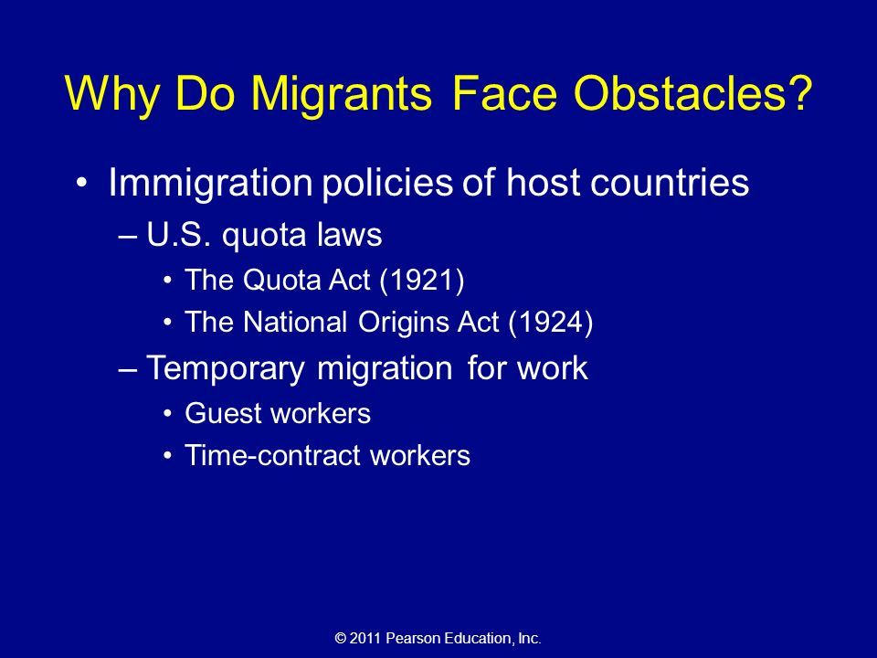 © 2011 Pearson Education, Inc. Why Do Migrants Face Obstacles.