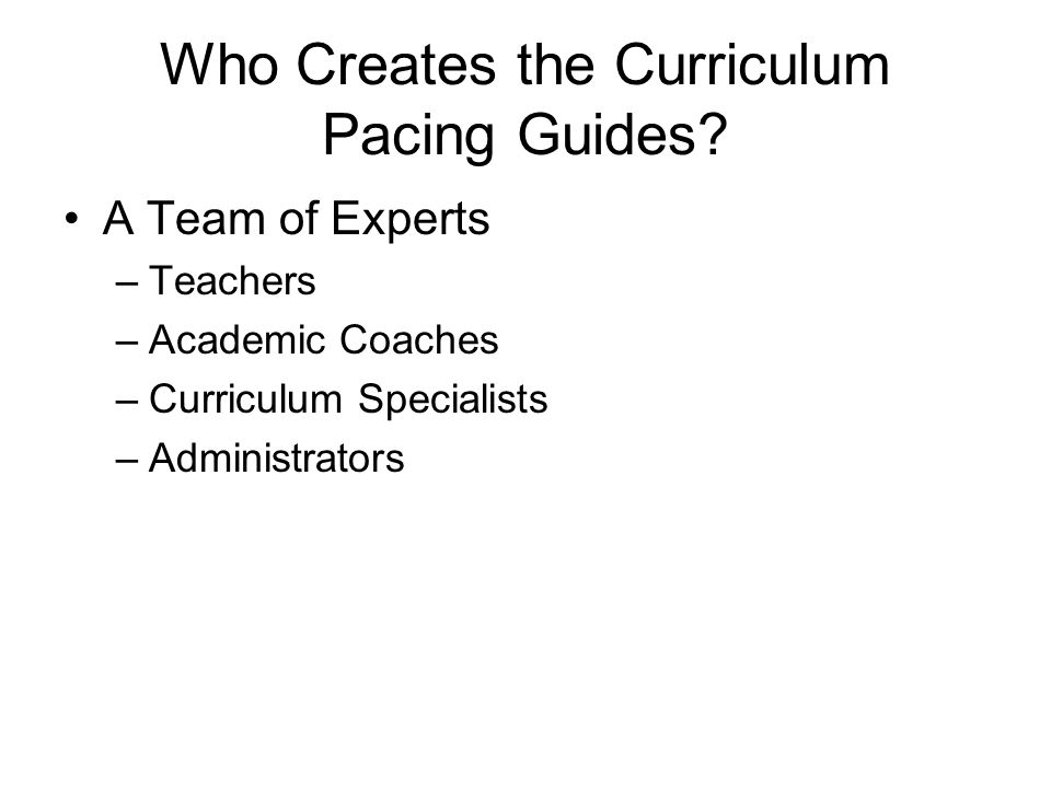 Curriculum Pacing Guide Development Clarke County Board Of