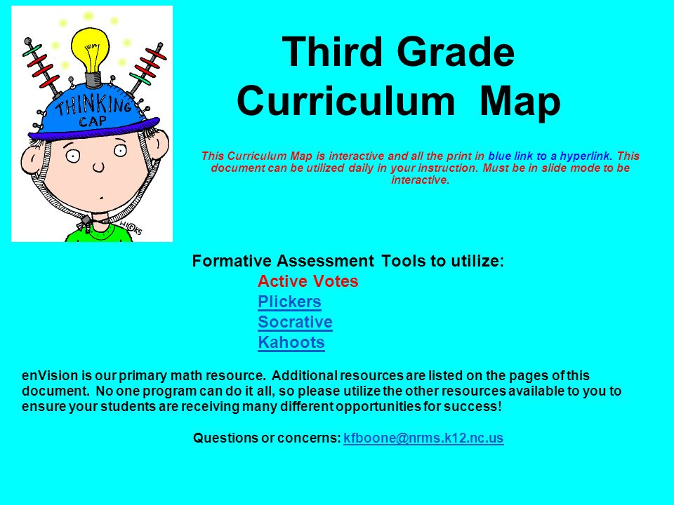 This Curriculum Map is interactive and all the print in blue