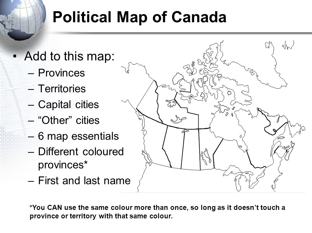 Map Of Canada To Colour.Geography Of Canada Geographer S Toolkit 1 Parts Of A Map Map