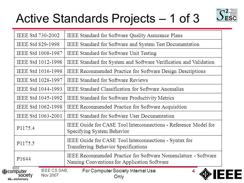Ieee Cs Sab Nov 2007 For Computer Society Internal Use Only 1 S2esc Report Standards Activities Board Meeting November 6 7 2007 Submitted By Paul Croll Ppt Download