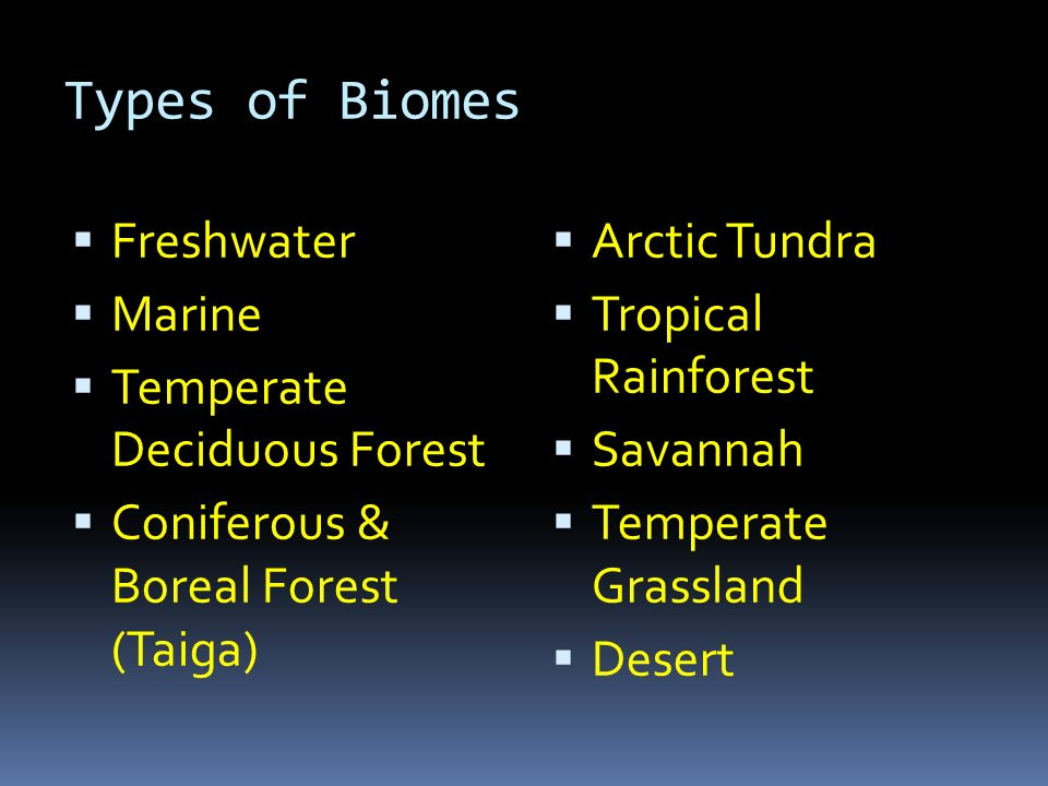 Characteristics of Every Biome  Breakdown:  Major world community  Certain climate- temperature and precipitation in an area or region  Organisms have adapted to the climate  Many ecosystems  Have changed over the history of the Earth  Every square inch of the planet is located in a biome
