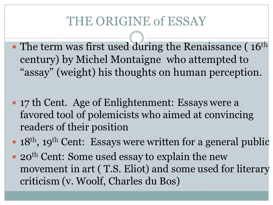 My Country Sri Lanka Essay English The Origine Of Essay The Term Was First Used During The Renaissance   Th  Century Conscience Essay also Topics For Proposal Essays By Kristina Yegoryan Essay Structure What Is An Essay The Word  Essay Thesis Statement Example