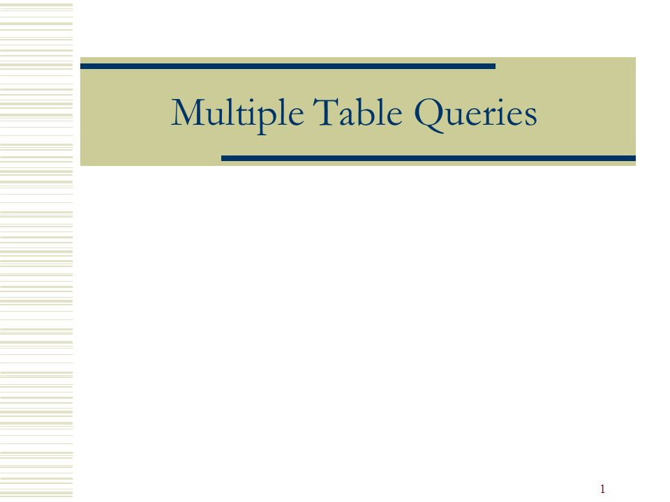 1 Multiple Table Queries 2 Objectives Retrieve Data From More