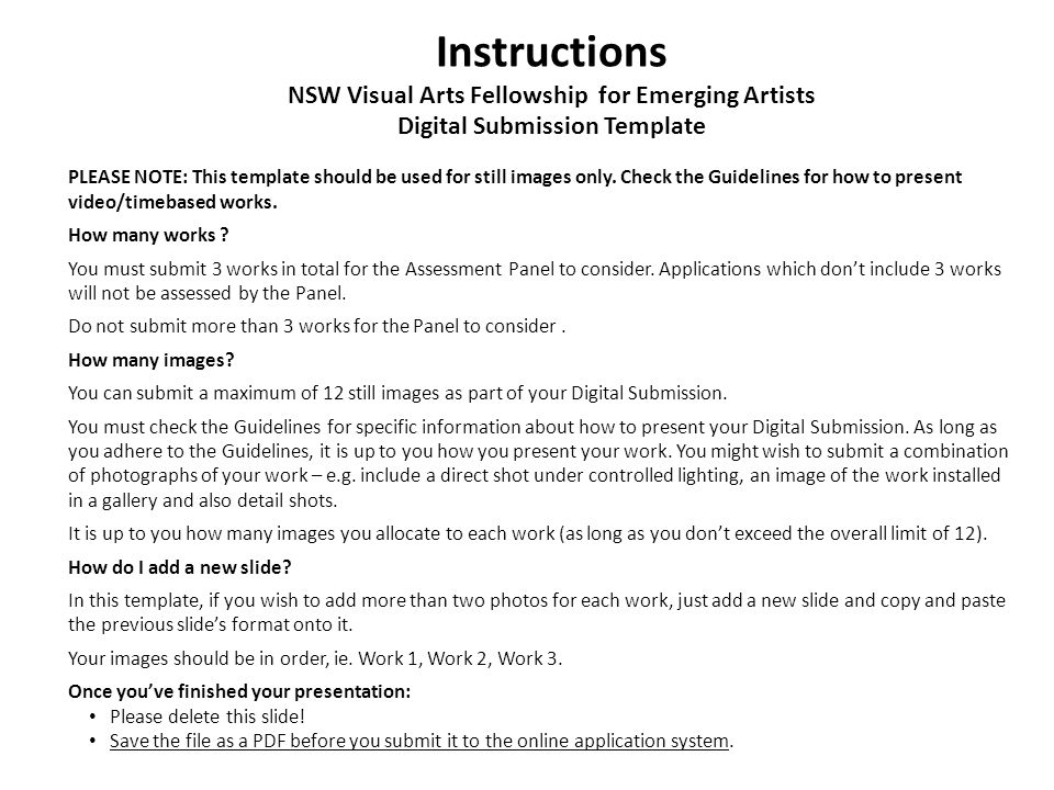 Instructions NSW Visual Arts Fellowship for Emerging Artists Digital