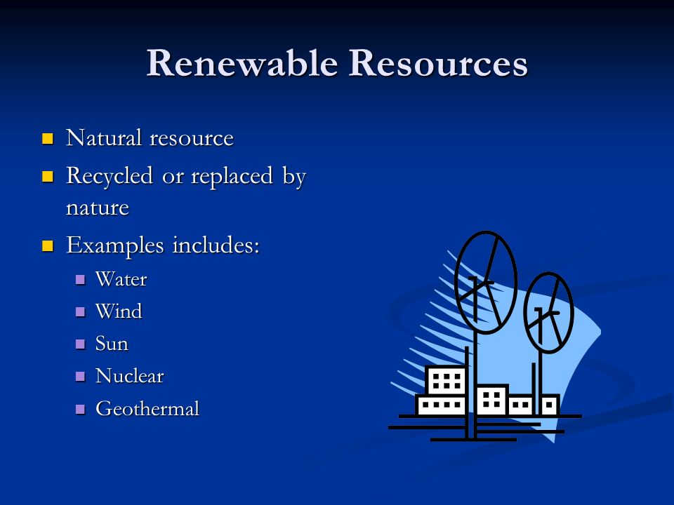 Renewable Resources Natural resource Natural resource Recycled or replaced by nature Recycled or replaced by nature Examples includes: Examples includes: Water Water Wind Wind Sun Sun Nuclear Nuclear Geothermal Geothermal