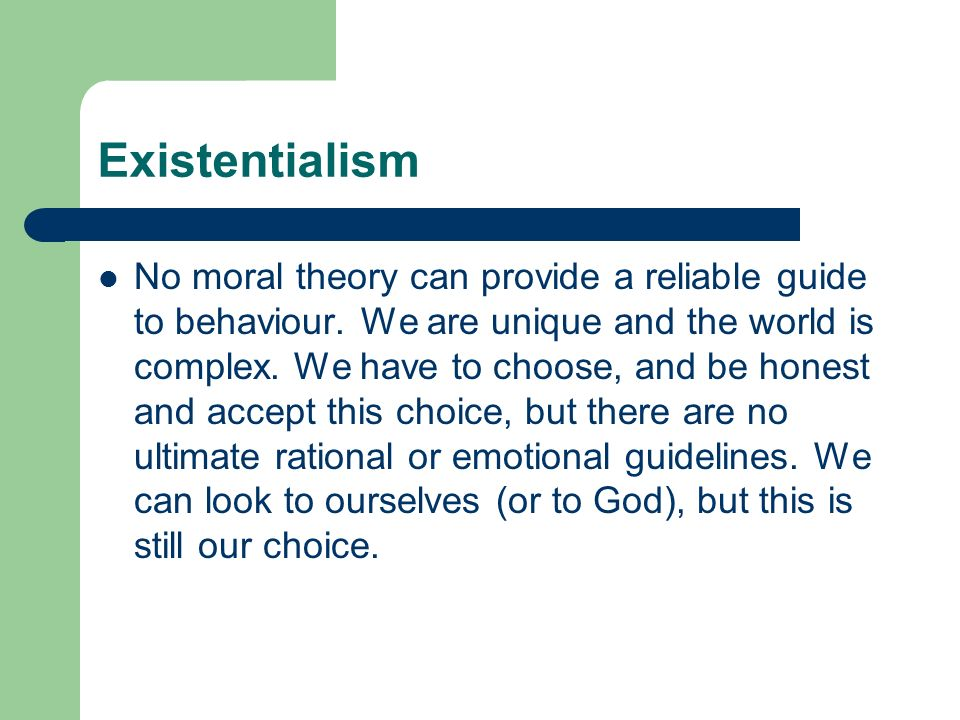 existentialism and moral individualism essay We will write a custom essay sample on existentialism 7a4 themes specifically for you for only $1638 $139/page order now  religious and moral education : the existentialists particularly lay emphasis upon religion and moral education  existentialism and moral individualism  send me this sample.