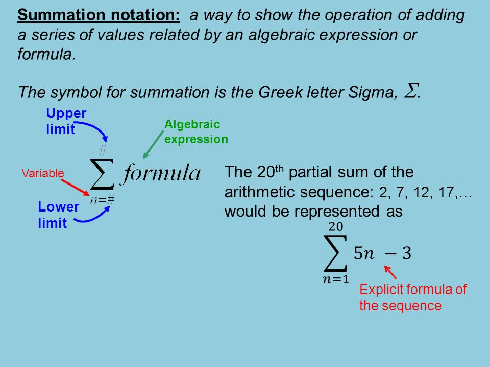Summation Notation Summation Notation A Way To Show The Operation