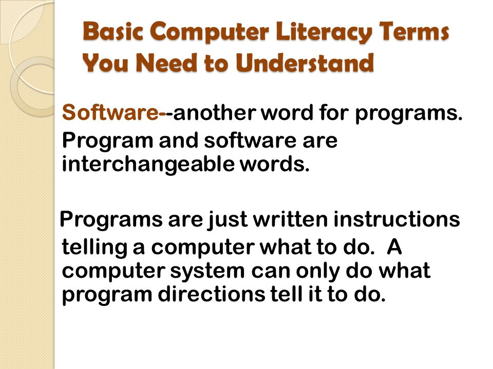 Unit Two Developing Foundations Basic Computer Literacy Terms You