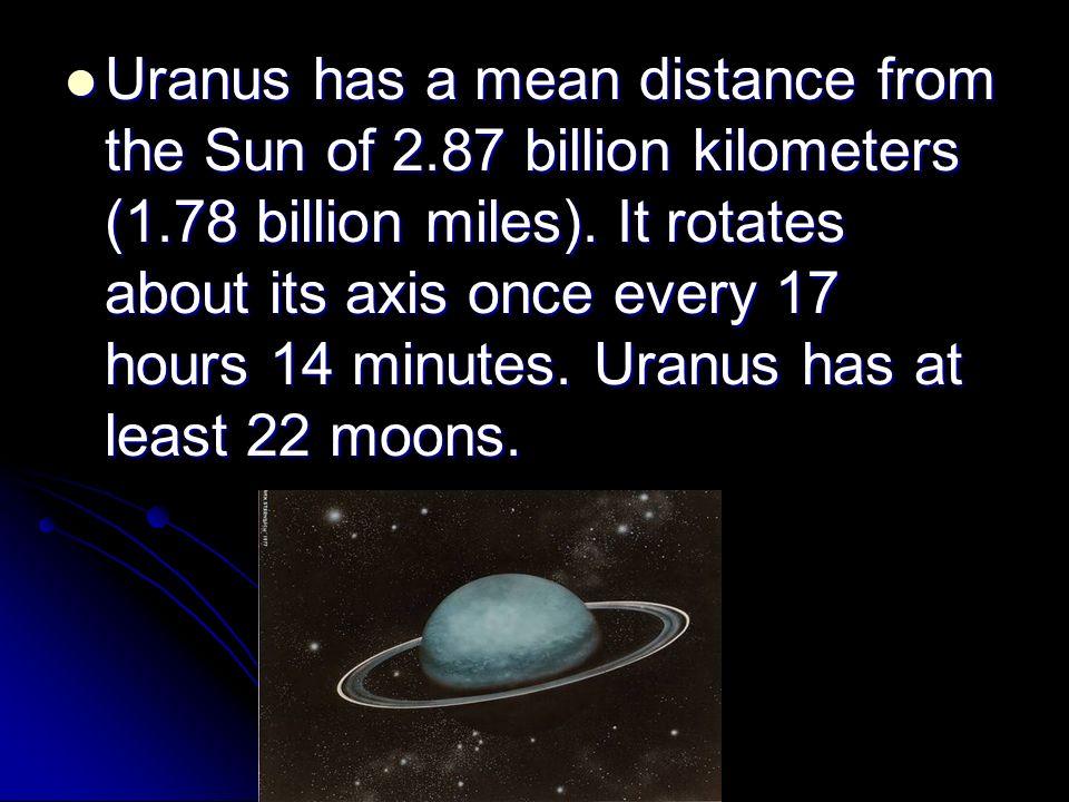 Urhas A Mean Distance From The Sun Of 2 87 Billion Kilometers 1 78 Billion Miles