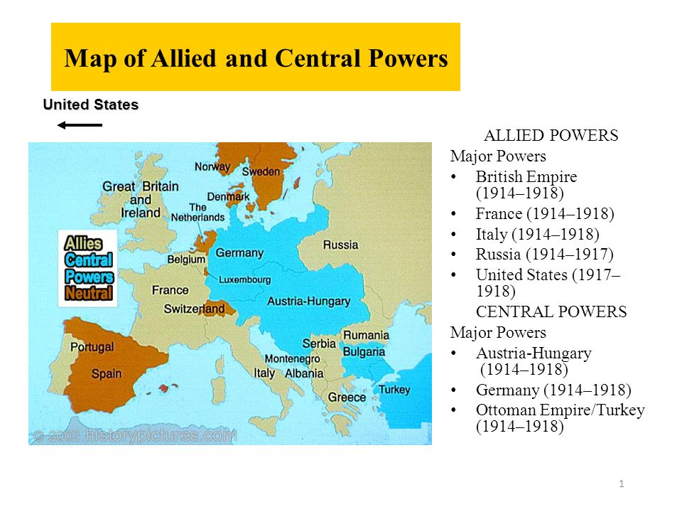 Map Of Allied And Central Powers Allied Powers Major Powers British