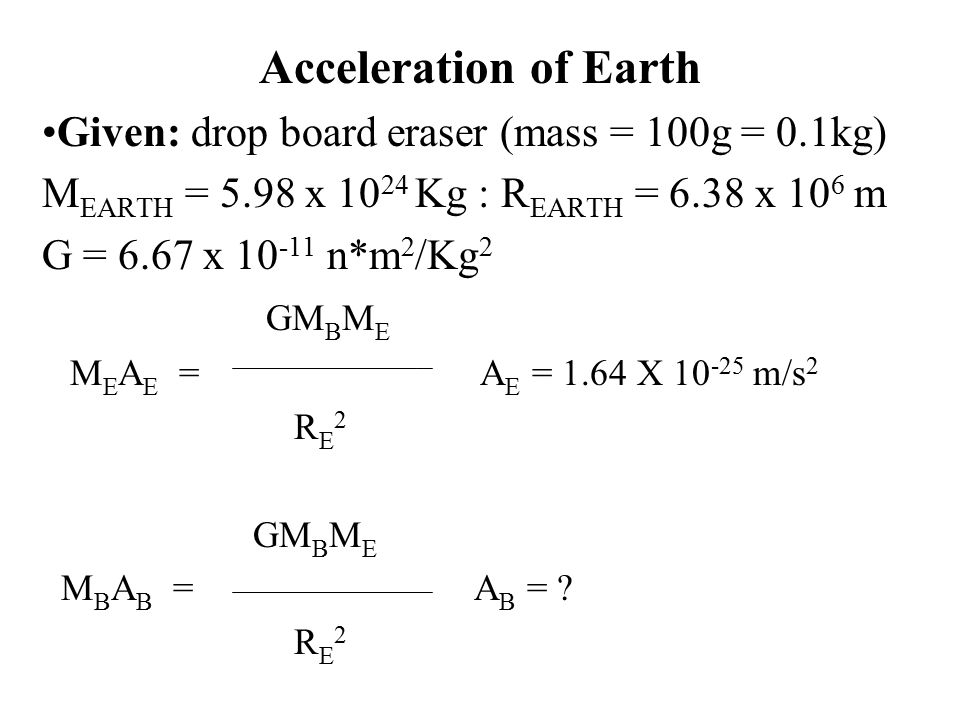 Acceleration of Earth Given: drop board eraser (mass = 100g = 0.1kg) M EARTH = 5.98 x Kg : R EARTH = 6.38 x 10 6 m G = 6.67 x n*m 2 /Kg 2 GM B M E M E A E = A E = 1.64 X m/s 2 R E 2 GM B M E M B A B = A B = .