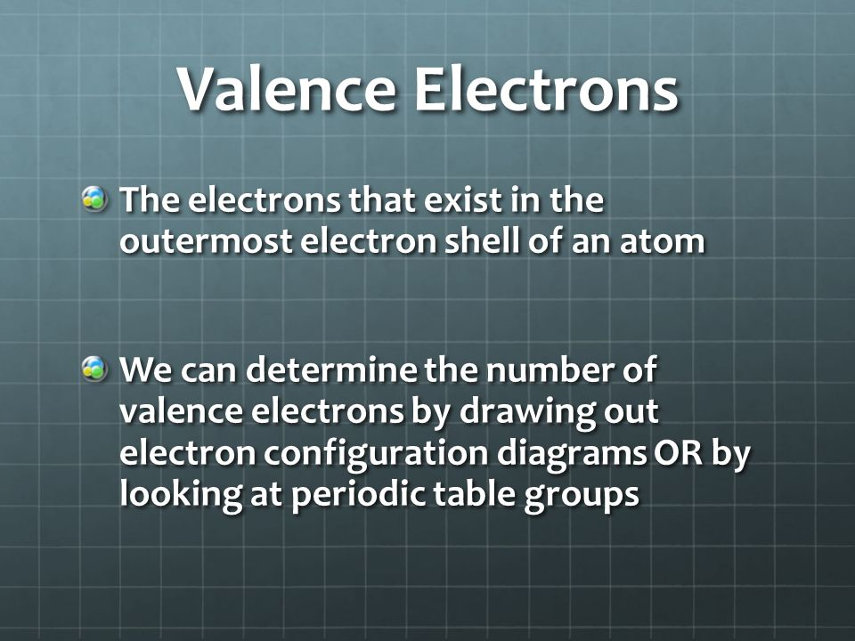 Valence Electrons The electrons that exist in the outermost electron shell of an atom We can determine the number of valence electrons by drawing out electron configuration diagrams OR by looking at periodic table groups