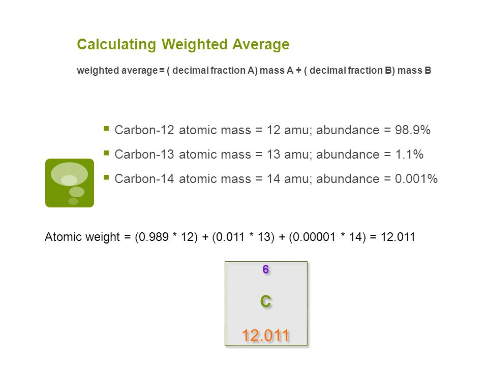 More about isotopes atomic mass vs average atomic mass or atomic 5 calculating weighted average carbon 12 atomic mass urtaz Image collections