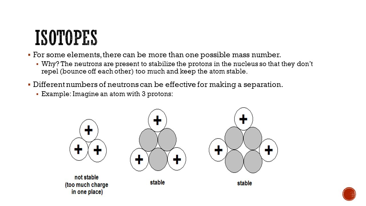  Atoms with the same number of protons (they are the same element) but different number of neutrons.