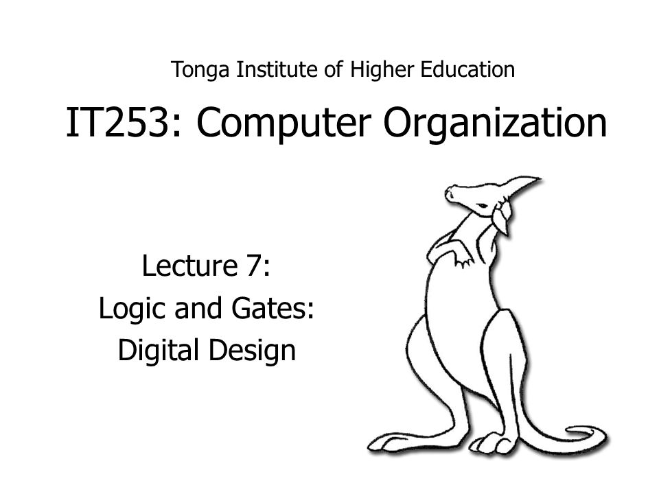It253 Computer Organization Lecture 7 Logic And Gates Digital Design Tonga Institute Of Higher Education Ppt Download