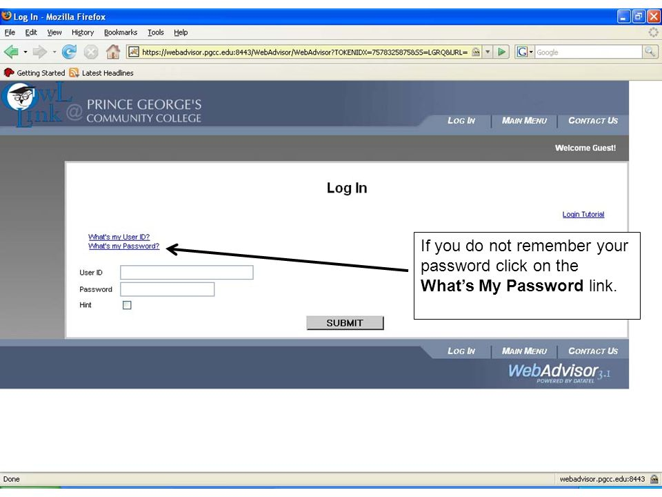 If you do not remember your password click on the What's My Password link.