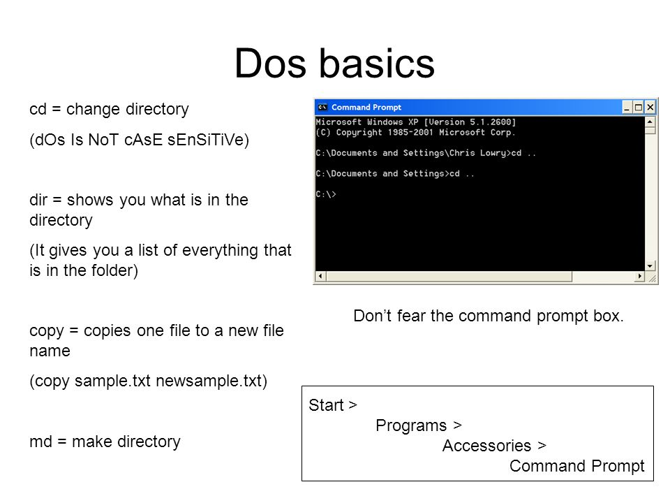 Running Modflow with Batch Files  Dos basics cd = change