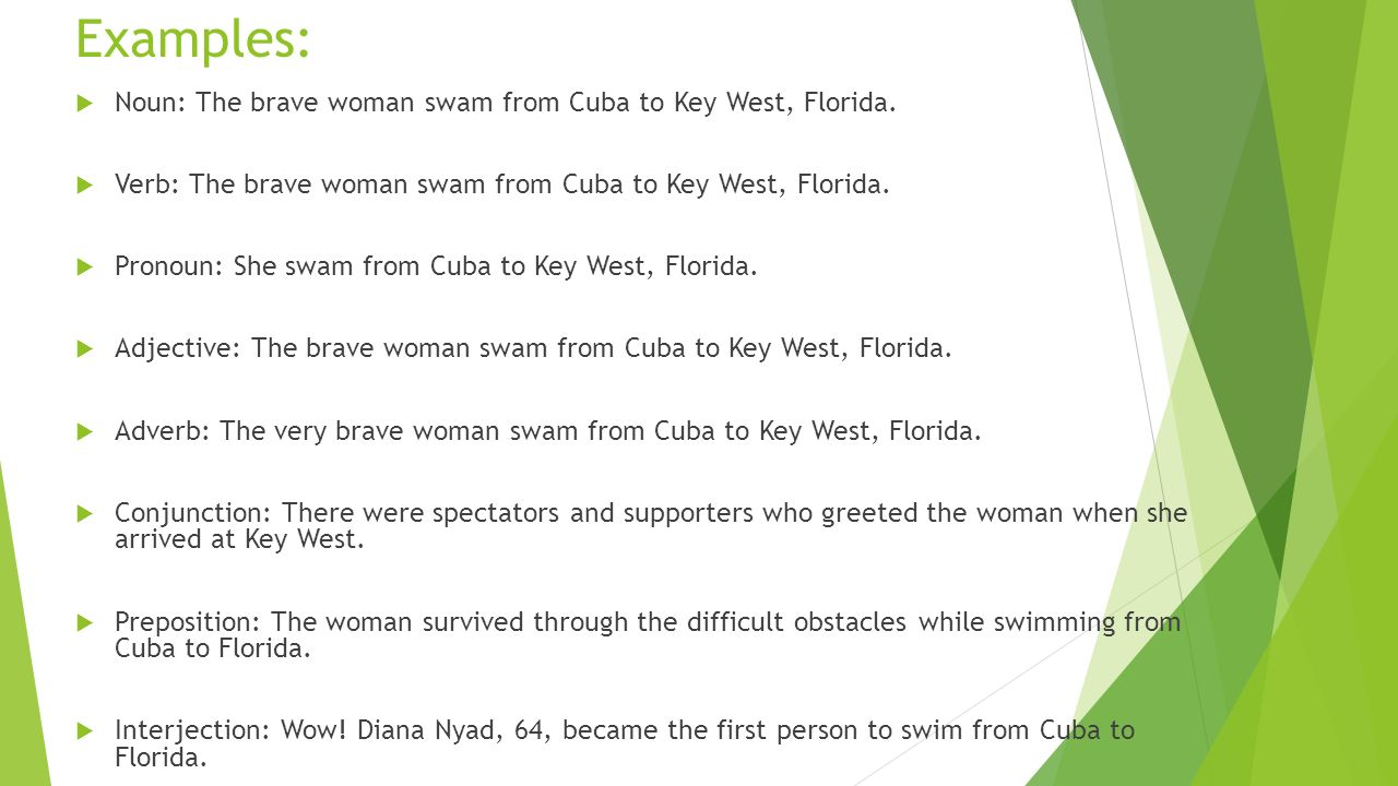 Examples:  Noun: The brave woman swam from Cuba to Key West, Florida.