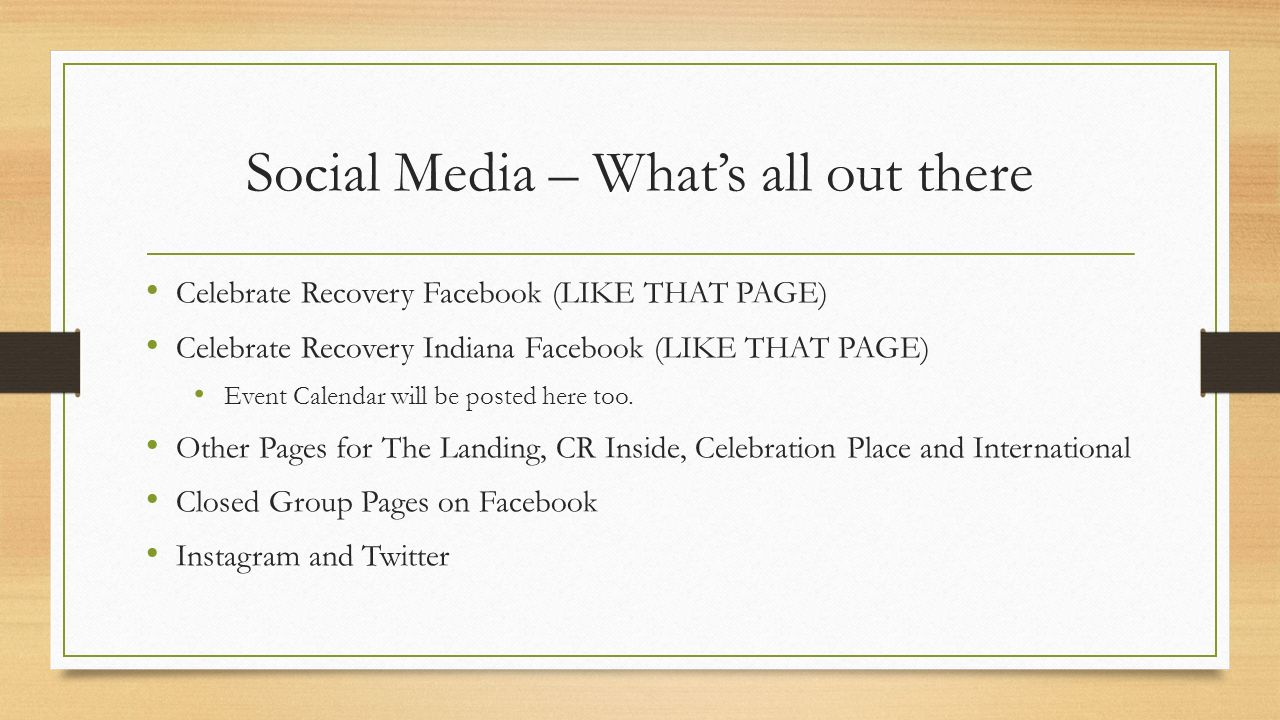 Celebrate Recovery Indiana Online and Social Media Tools