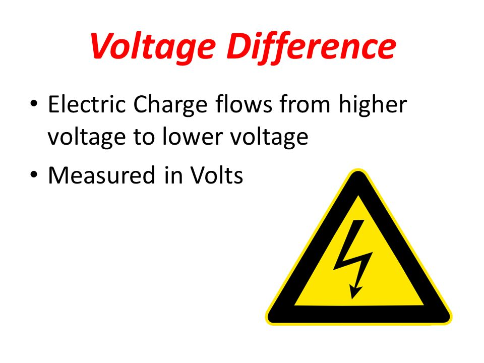 Voltage Difference Electric Charge flows from higher voltage to lower voltage Measured in Volts