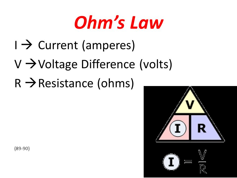 Ohm's Law I  Current (amperes) V  Voltage Difference (volts) R  Resistance (ohms) (89-90)