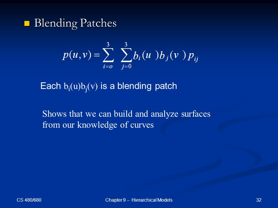 CS 480/680 32Chapter 9 -- Hierarchical Models Blending Patches Blending Patches Each b i (u)b j (v) is a blending patch Shows that we can build and analyze surfaces from our knowledge of curves