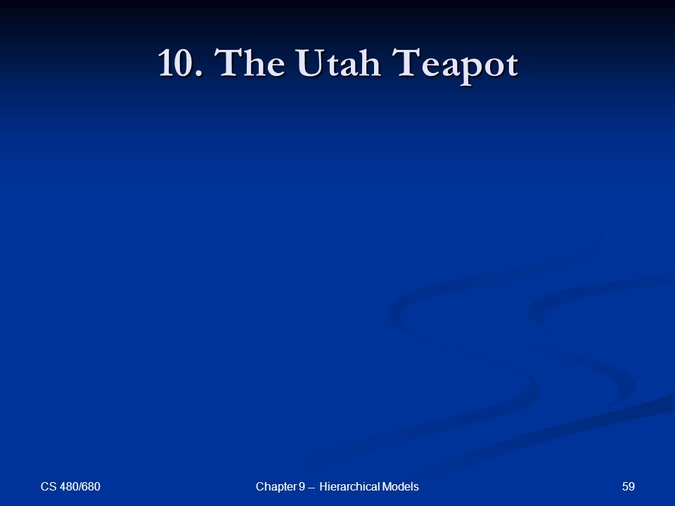 CS 480/680 59Chapter 9 -- Hierarchical Models 10. The Utah Teapot