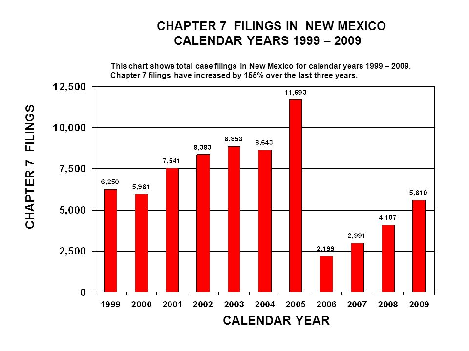 CHAPTER 7 FILINGS IN NEW MEXICO CALENDAR YEARS 1999 – 2009 CALENDAR YEAR CHAPTER 7 FILINGS This chart shows total case filings in New Mexico for calendar years 1999 – 2009.