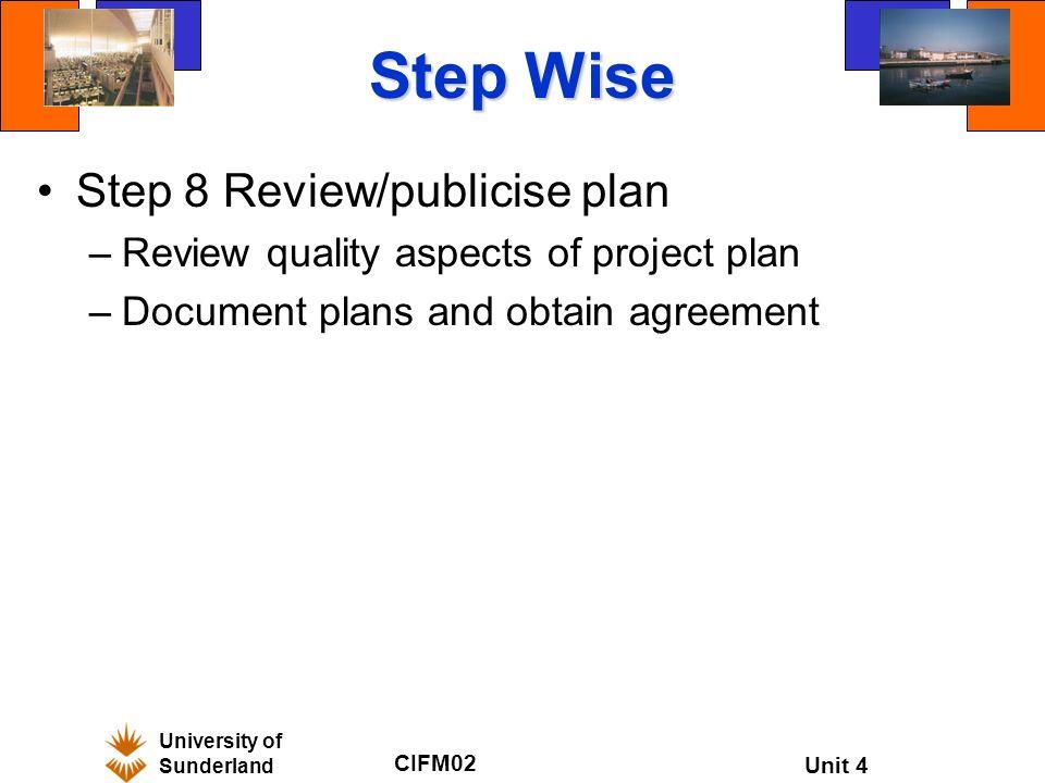 University Of Sunderland Cifm02 Unit 4 Comm02 Project Planning Unit
