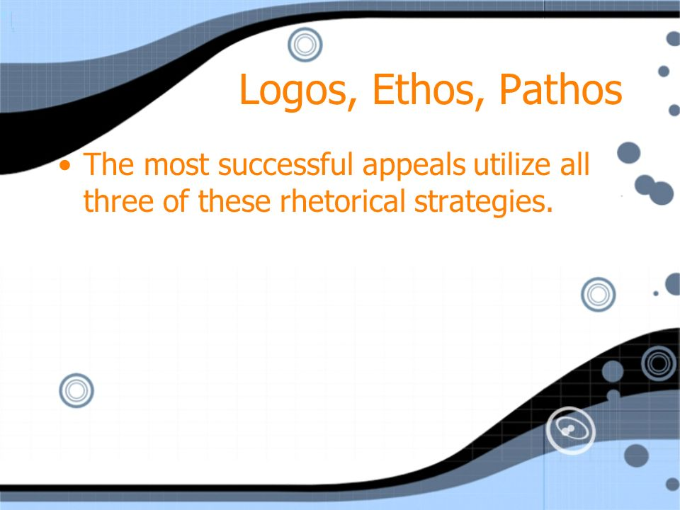 Logos, Ethos, Pathos The most successful appeals utilize all three of these rhetorical strategies.