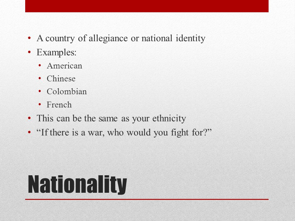 a personal definition of nationalism Patriarchal nationalism rejects the idea that people are interchangeable the identity of a nation must be something more than the acceptance of abstract principles or a set of economic policies for a nation to cohere over the course of many centuries, it must also be based on culture and genetics.