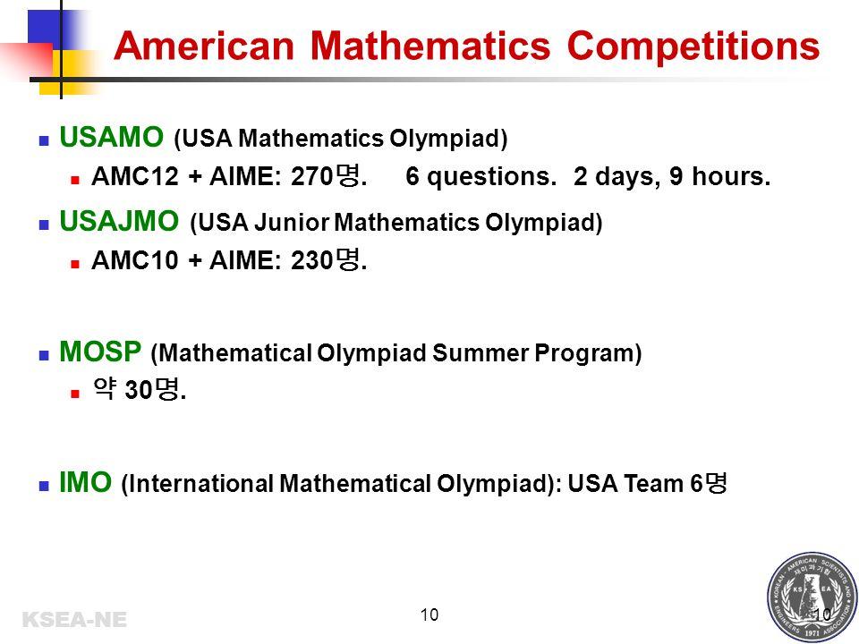 KSEA-NE 1 Math Competitions in US 도 삼주 Principal Speech