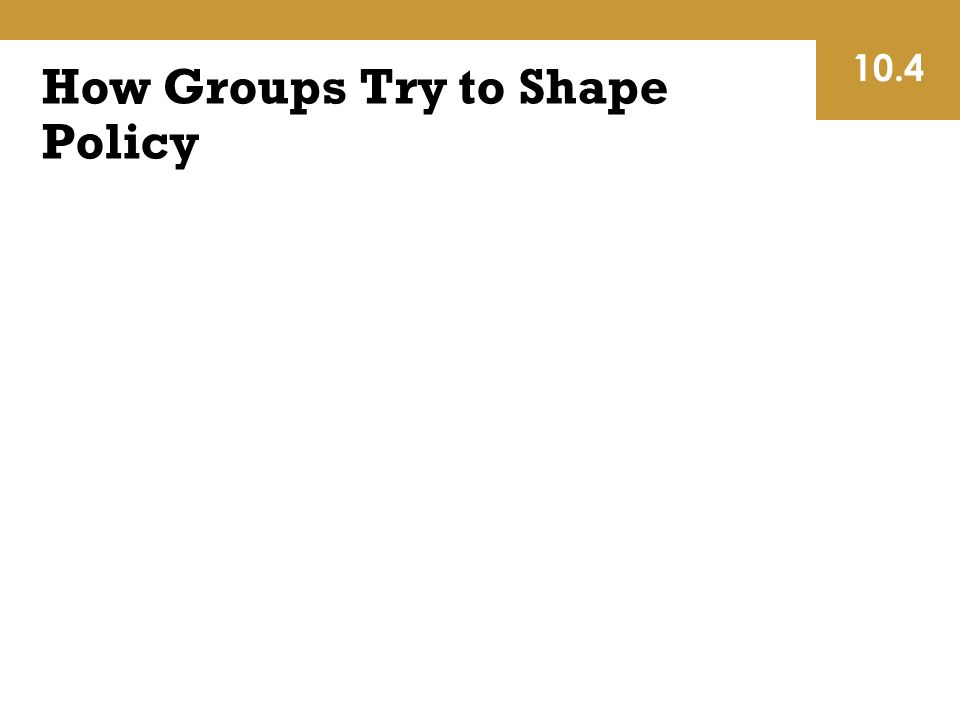 How Groups Try to Shape Policy 10.4